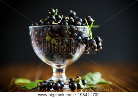 Black Currant In A Glass Bowl