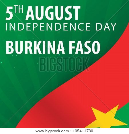 Independence Day Of Burkina Faso. Flag And Patriotic Banner. Vector Illustration.