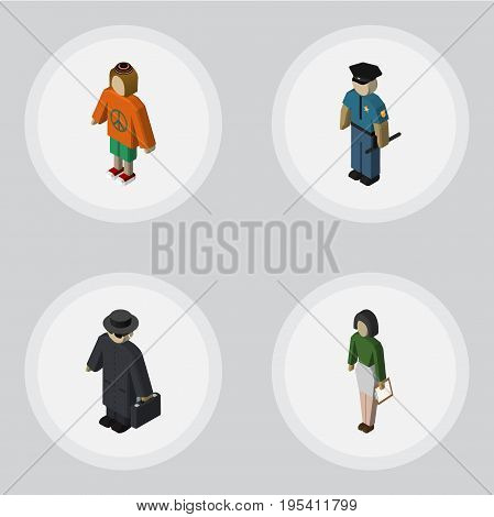 Isometric Person Set Of Officer, Pedagogue, Detective And Other Vector Objects. Also Includes Educator, Lady, Officer Elements.