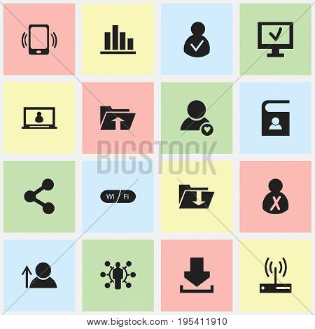 Set Of 16 Editable Global Icons. Includes Symbols Such As Skill, Telephone Directory, Lovely Profile And More. Can Be Used For Web, Mobile, UI And Infographic Design.