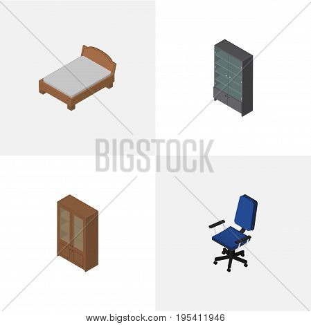 Isometric Furniture Set Of Office, Sideboard, Bedstead And Other Vector Objects. Also Includes Cabinet, Cupboard, Furniture Elements.