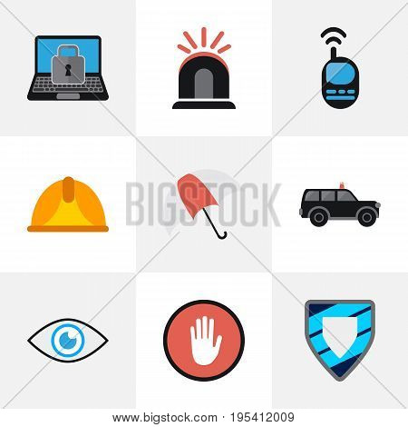 Set Of 9 Editable Procuring Icons. Includes Symbols Such As Talkie, Look, Hardhat And More. Can Be Used For Web, Mobile, UI And Infographic Design.