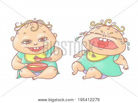 Vector color cartoon illustration child. The chubby funny curly kid with big eyes. Crying and eating cereal baby in turquoise clothes and a bib