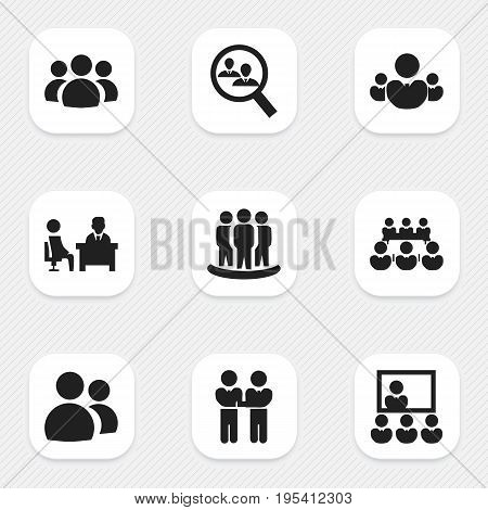Set Of 9 Editable Cooperation Icons. Includes Symbols Such As Agreement, Publicity, Meeting And More. Can Be Used For Web, Mobile, UI And Infographic Design.