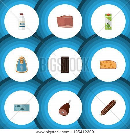 Flat Icon Meal Set Of Beef, Tin Tuna, Confection And Other Vector Objects. Also Includes Bar, Chicken, Beef Elements.