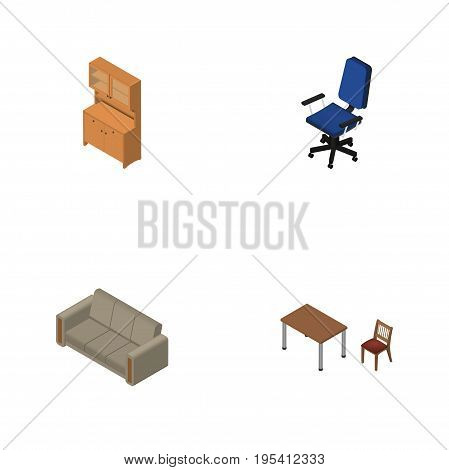 Isometric Furniture Set Of Couch, Cupboard, Chair And Other Vector Objects. Also Includes Couch, Table, Chair Elements.