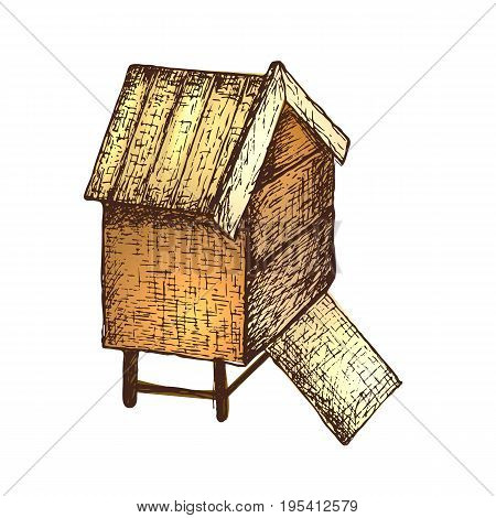Hand drawn ink sketch illustration of apiary beehive, organic nature product. Vector