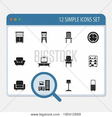 Set Of 12 Editable Interior Icons. Includes Symbols Such As Locker, Recliner, Wall Mirror And More. Can Be Used For Web, Mobile, UI And Infographic Design.