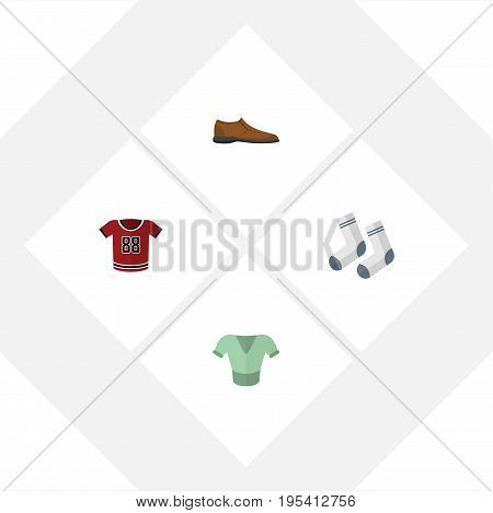 Flat Icon Dress Set Of Foot Textile, Casual, T-Shirt And Other Vector Objects. Also Includes Shirt, Footware, Textile Elements.