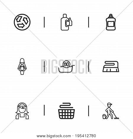 Set Of 9 Editable Cleanup Icons. Includes Symbols Such As Bleach, Hotel Staff, Brush And More. Can Be Used For Web, Mobile, UI And Infographic Design.