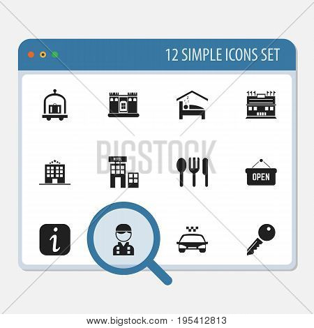 Set Of 12 Editable Plaza Icons. Includes Symbols Such As Information Sign, Restaurant, Unblock Access And More. Can Be Used For Web, Mobile, UI And Infographic Design.
