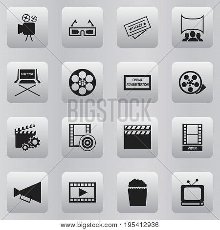 Set Of 16 Editable Movie Icons. Includes Symbols Such As Show, Cinema Snack, Clapperboard And More. Can Be Used For Web, Mobile, UI And Infographic Design.