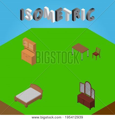 Isometric Design Set Of Drawer, Bedstead, Cupboard And Other Vector Objects. Also Includes Chair, Cupboard, Furniture Elements.