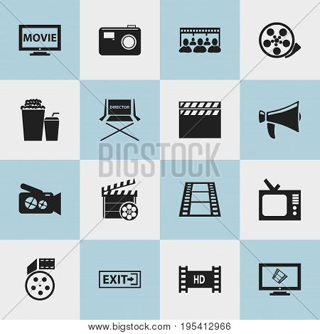 Set Of 16 Editable Filming Icons. Includes Symbols Such As Portable Camera, Tape, Display And More. Can Be Used For Web, Mobile, UI And Infographic Design.