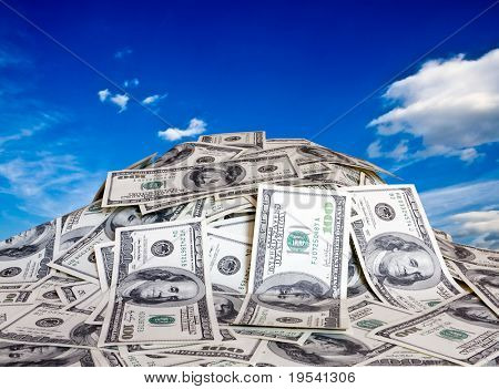 big pile of the money. dollars usa