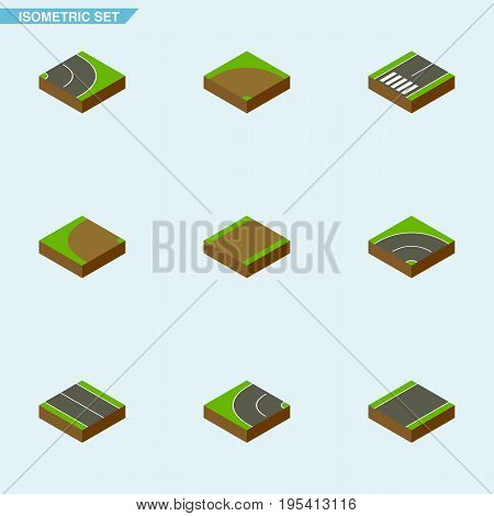 Isometric Way Set Of Asphalt, Bitumen, Flat And Other Vector Objects. Also Includes Sand, Footpath, Turning Elements.