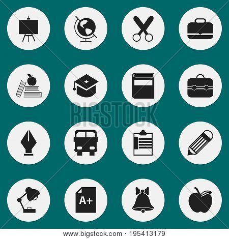 Set Of 16 Editable School Icons. Includes Symbols Such As Portfolio , Nib, Painter's Stand. Can Be Used For Web, Mobile, UI And Infographic Design.