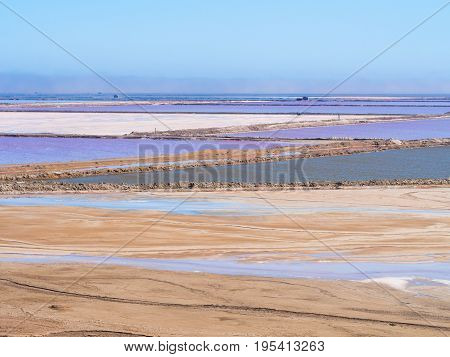 Salt pans in Walvis Bay Namibia Africa.