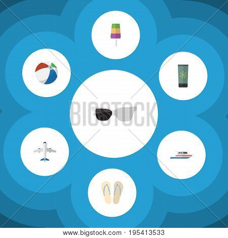 Flat Icon Beach Set Of Aircraft, Moisturizer, Boat And Other Vector Objects. Also Includes Boat, Flip, Aircraft Elements.