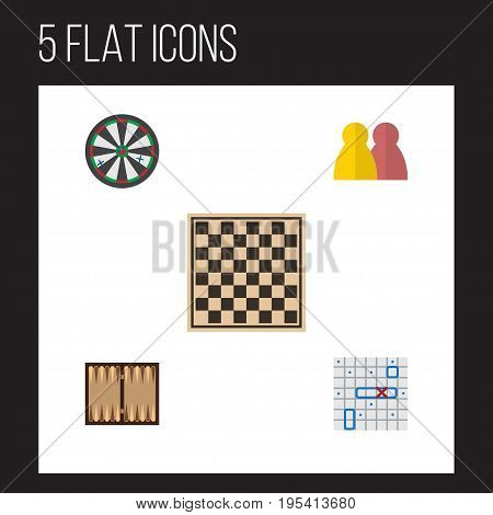 Flat Icon Play Set Of People, Dice, Arrow And Other Vector Objects. Also Includes Chess, Dice, Ship Elements.