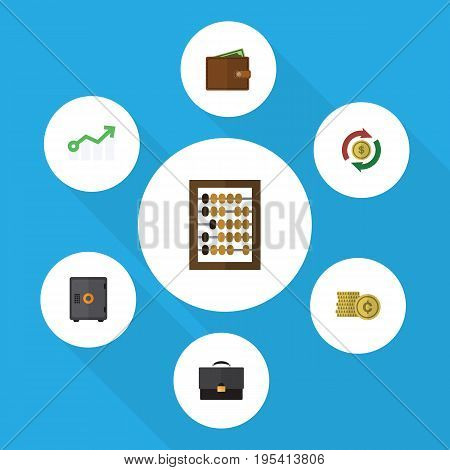 Flat Icon Gain Set Of Billfold, Interchange, Portfolio And Other Vector Objects. Also Includes Briefcase, Bank, Exchange Elements.