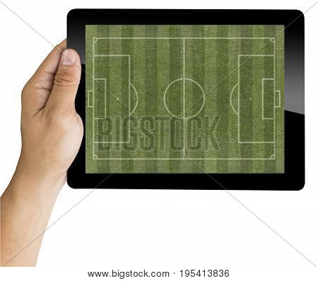 Hand With Tablet Show The Soccer Field