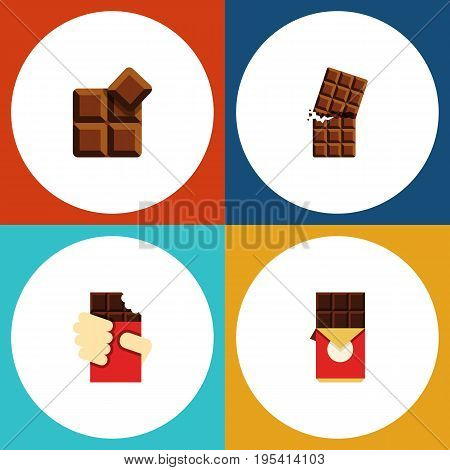 Flat Icon Chocolate Set Of Chocolate Bar, Shaped Box, Wrapper And Other Vector Objects. Also Includes Shaped, Wrapper, Dessert Elements.