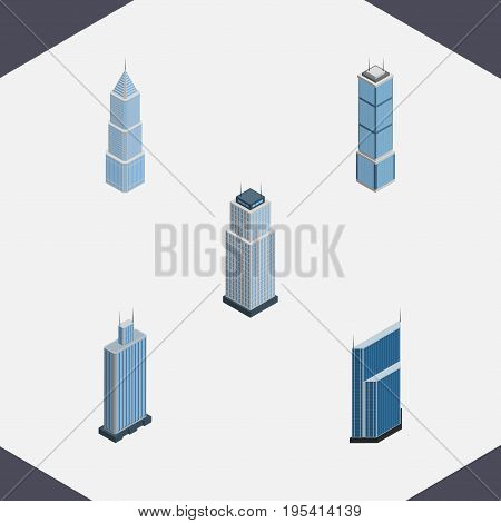 Isometric Construction Set Of Business Center, Tower, Apartment And Other Vector Objects. Also Includes Business, Residential, Tower Elements.