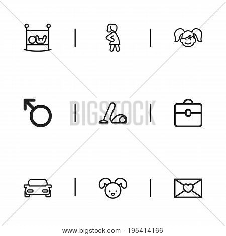 Set Of 9 Editable Folks Icons. Includes Symbols Such As Man Symbol, Affection Letter, Infant Bed And More. Can Be Used For Web, Mobile, UI And Infographic Design.