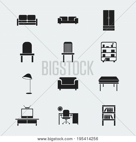 Set Of 12 Editable Interior Icons. Includes Symbols Such As Illuminant, Office, Tv And More. Can Be Used For Web, Mobile, UI And Infographic Design.