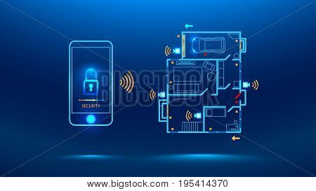 mobile phone controls smart home in the distance through app on your smart phone. Shows protection level of the house. cyber security future. Vector illustration