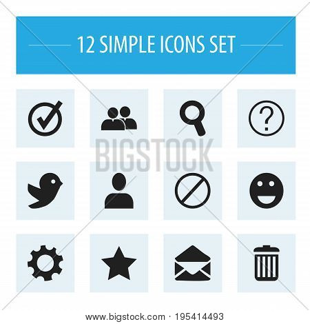 Set Of 12 Editable Internet Icons. Includes Symbols Such As Letter, Recycle Bin, Magnifier And More. Can Be Used For Web, Mobile, UI And Infographic Design.