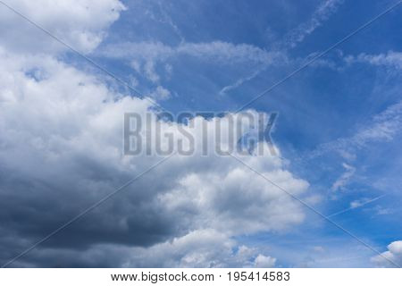 View on beautiful white clouds in a blue sky. Big Clouds and Skies in the Morning. Fresh Air. Cloudy Weather. Cloud Formations. White Clouds