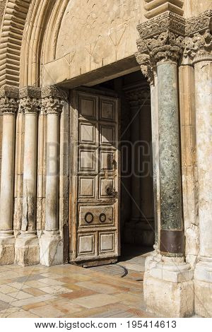 Open gate in the Church of the Holy Sepulchre are inside the main Christian Church.