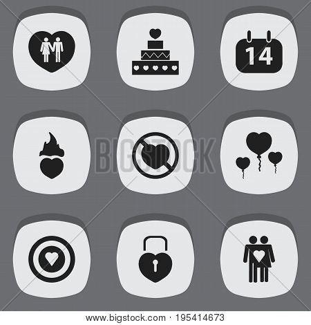 Set Of 9 Editable Love Icons. Includes Symbols Such As Joy, Dartboard, Locked Heart And More. Can Be Used For Web, Mobile, UI And Infographic Design.