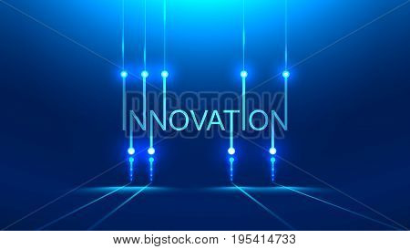 innovation word. technology metaphor or concept banner title. Blue background. PCB board style poster