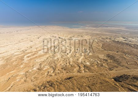 The Dead sea can be seen from the top of the fortress Masada on a fine clear day.