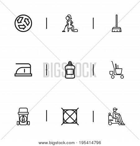Set Of 9 Editable Cleanup Icons. Includes Symbols Such As Trolley, Bottle Recycling, Attention And More. Can Be Used For Web, Mobile, UI And Infographic Design.