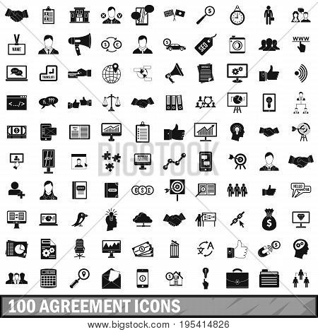 100 agreement icons set in simple style for any design vector illustration