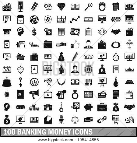 100 banking money icons set in simple style for any design vector illustration