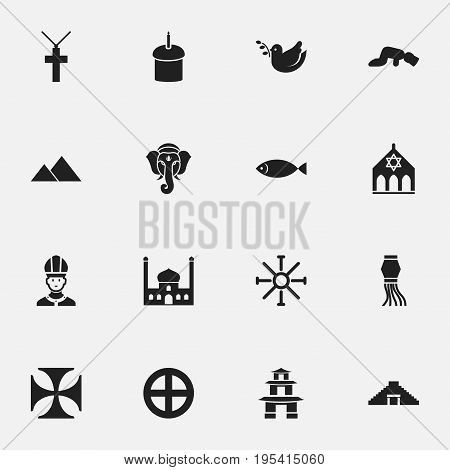 Set Of 16 Editable Religion Icons. Includes Symbols Such As Giza, Spring Pie, Pagoda And More. Can Be Used For Web, Mobile, UI And Infographic Design.
