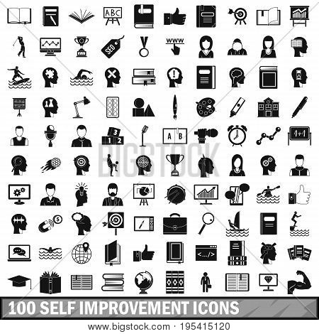 100 self improvement icons set in simple style for any design vector illustration