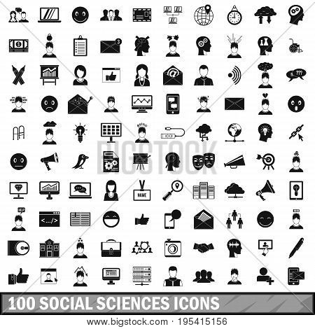 100 social sciences icons set in simple style for any design vector illustration