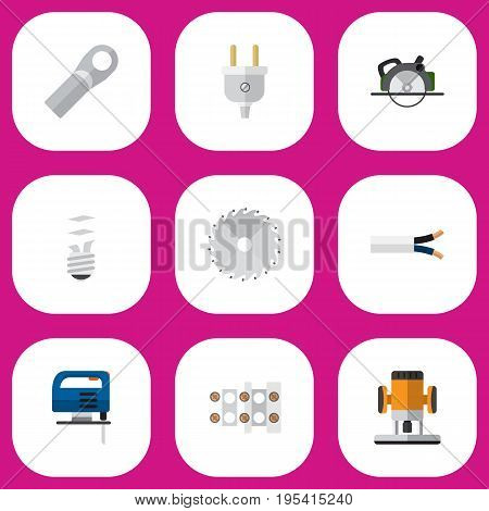 Set Of 9 Editable Electrical Icons. Includes Symbols Such As Cable, Terminal Block, Outlet And More. Can Be Used For Web, Mobile, UI And Infographic Design.