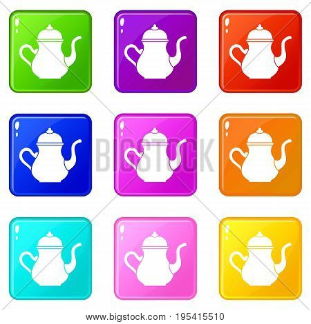 Traditional Turkish teapot icons of 9 color set isolated vector illustration