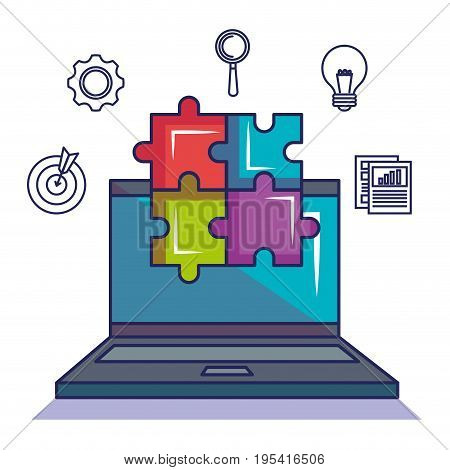 Laptop and puzzle with start up related objects over white background