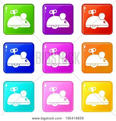 Clockwork mouse icons of 9 color set isolated vector illustration