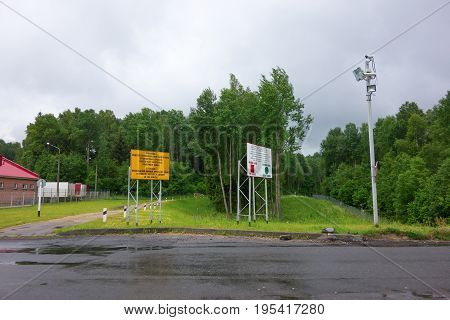 Medininkai Belarus - June 11 2017: Border crossing between Belarus and Lithuania.