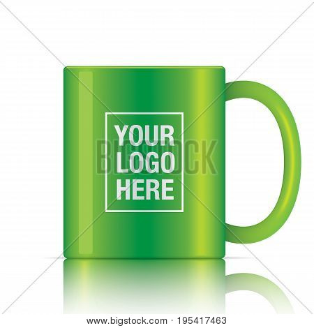 Green vector coffee mug template isolated on a white background. Green vector mug mockup for your logo design.
