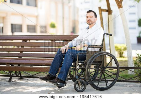 Hispanic Man Using A Wheelchair